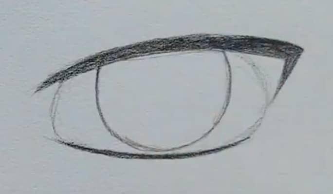 How to draw a male anime eye in pencil - step 5 - eye corners