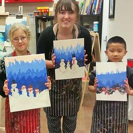izzy and kids artwork winter acrylic pai