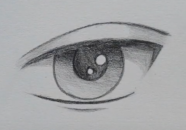 How to draw a male anime eye in pencil