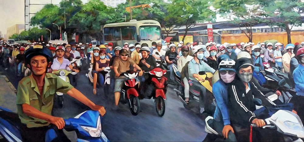 Fei Lu's painting titled Traffic. Shows a congested street with many motorcyclists