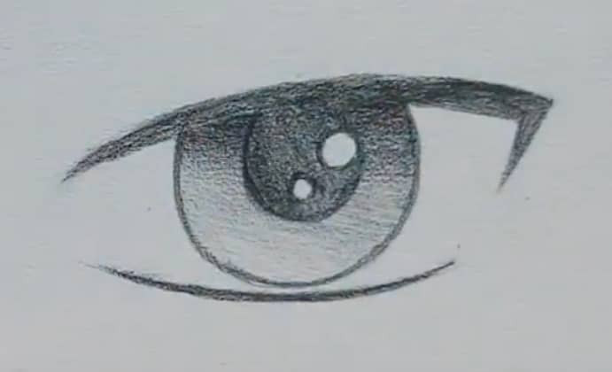 How to draw a male anime eye in pencil - step 8: shading the iris with a gradient