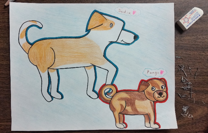 Dog Drawing by Winged Canvas Student