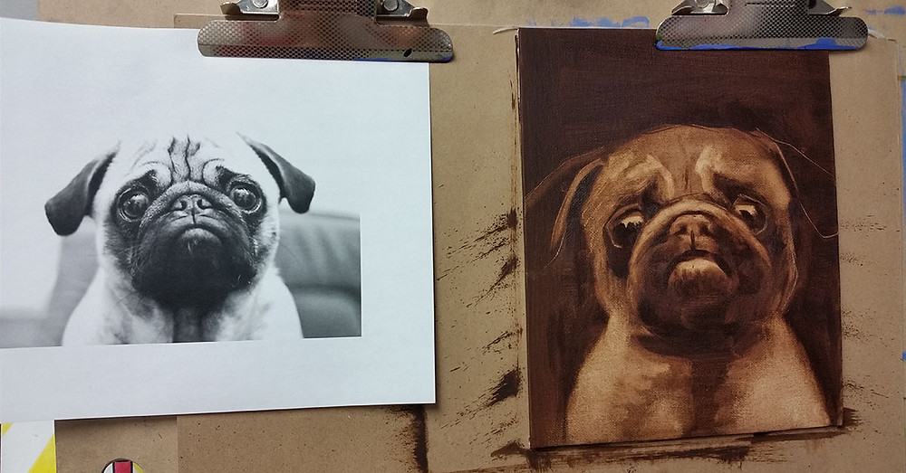 oil painting of a pug dog