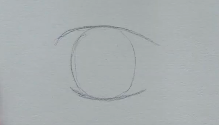 How to draw female anime eyes in Pencil - Step 2: Drawing lash lines