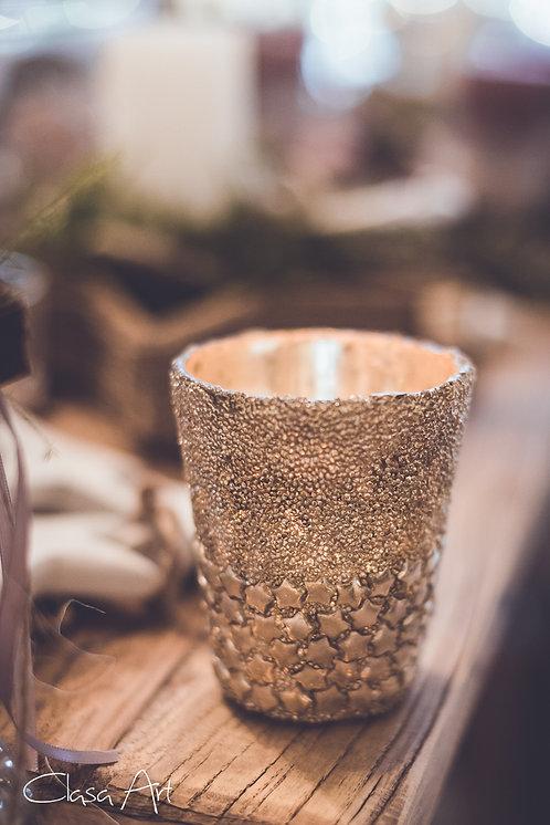 Kerzen Glas Gold