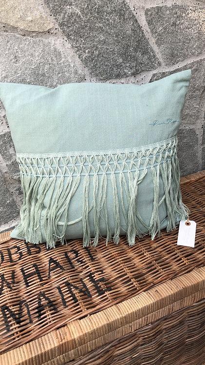 Botanical Fringe Pillow Cover green