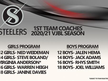 2020/21 VJBL Junior Steeler 1st team coaches