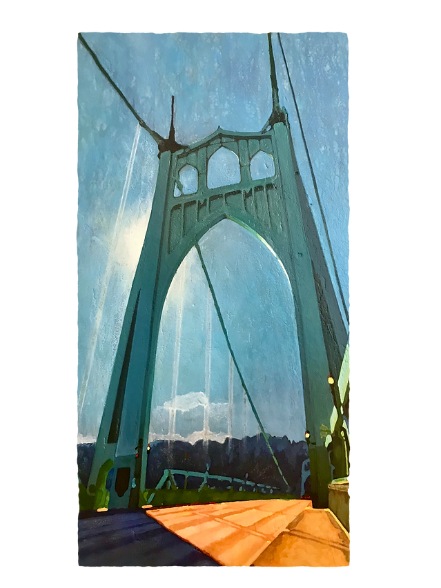 St. John's Bridge, encaustic painting with shellac on wood panel, beeswax, oil paint, fine art, tracy simpson art