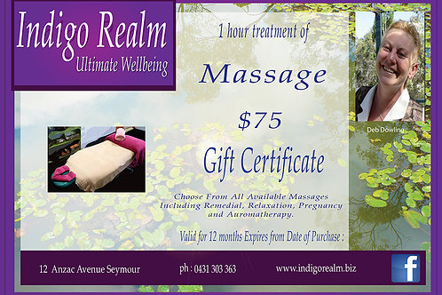 Indigo Realm Gift Voucher Massage