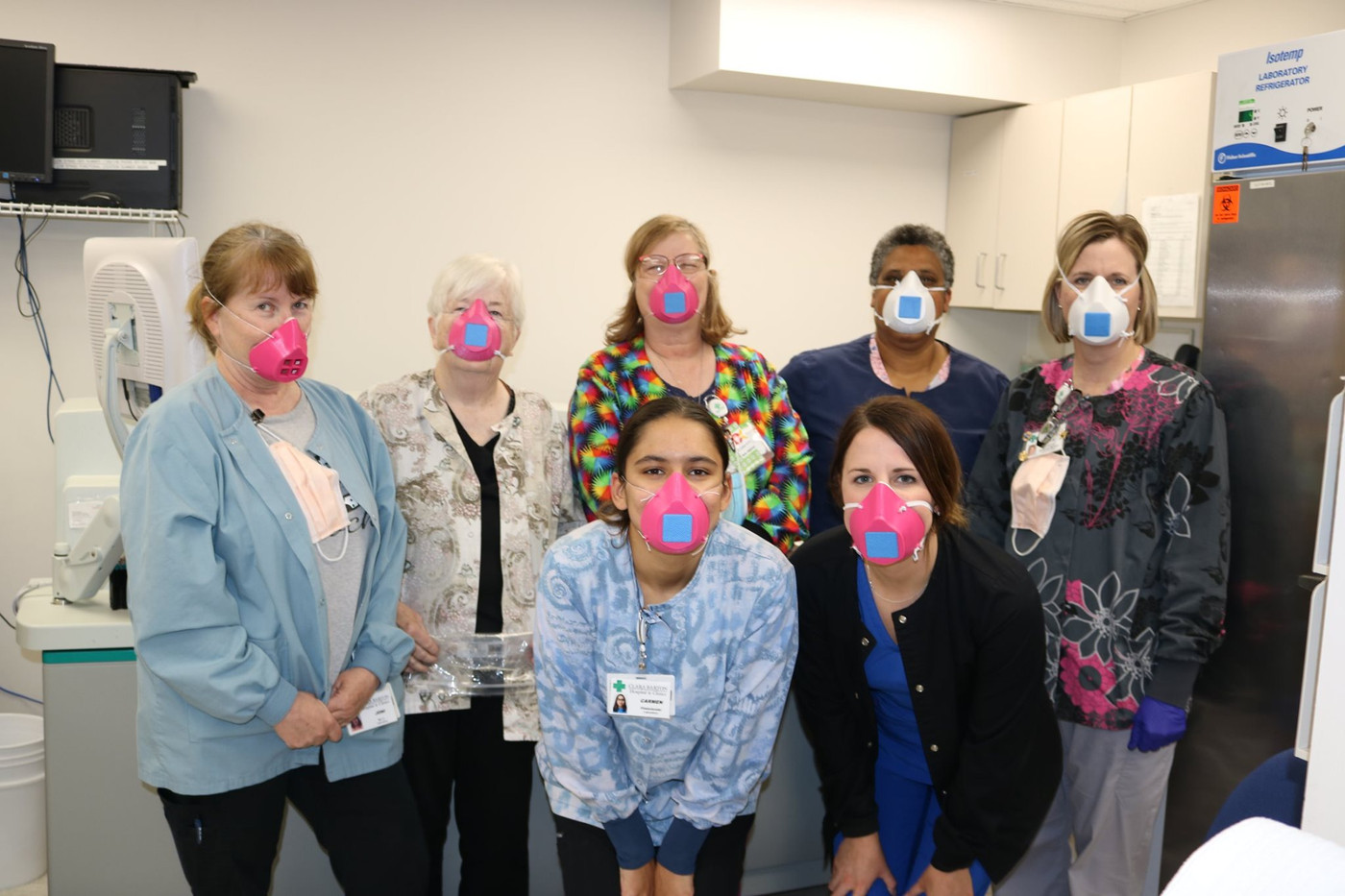 Lab staff wearing their 3D printed masks