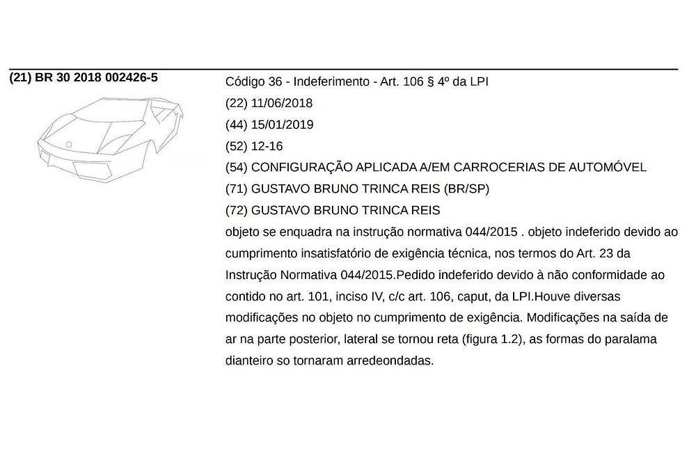 Recusa do registro foi publicada em um documento oficial do INPI (INPI/Internet)
