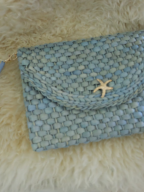 Sea Star Woven Clutch (blue)