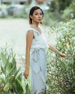 The Barc Top and Portu Wrap Midi Skirt on Coreen