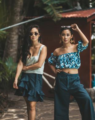 The Ia Top and Tai Wrap Mini on Isabel | The Tai top and Siqui pants on Coreen