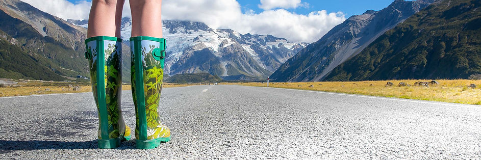 Native Forest Gumboots in front of Mount Cook