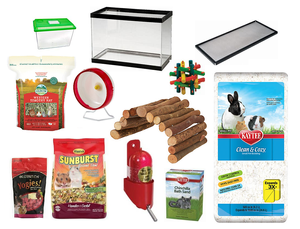 Gerbil Supplies, Aquarium, food, treats, wheel, toys, hides, bedding, hay and carrier