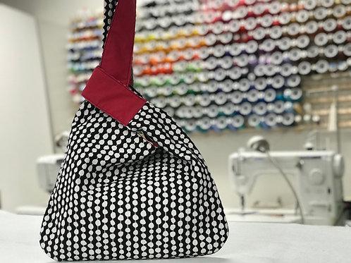 Japanese Knot Bag black and white circles magenta lining