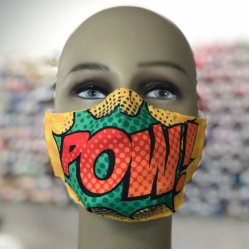 POW Comic Style Face Mask green yellow orange