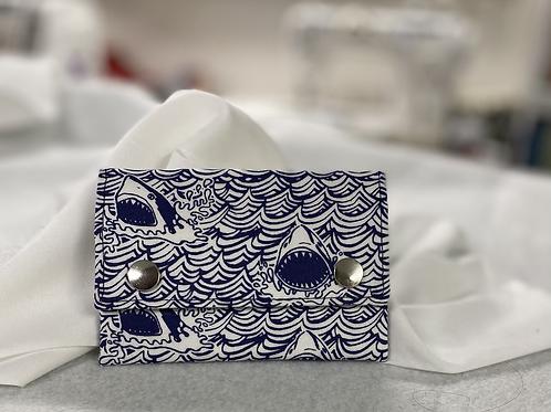 Shark print snap wallet