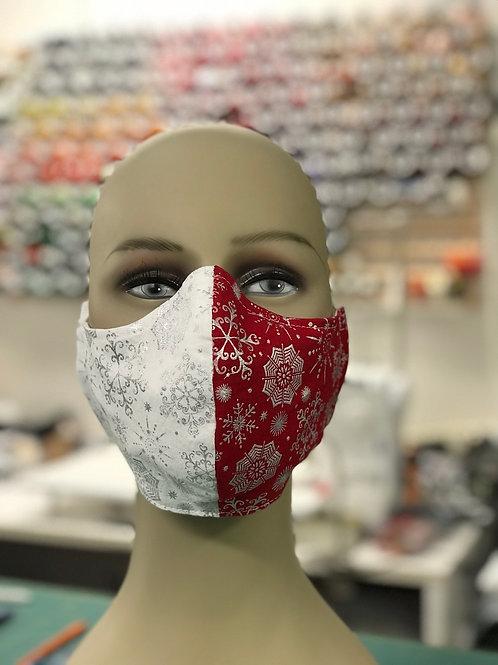 Metallic snowflakes mask red and white 1
