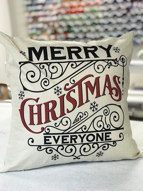 Merry Christmas Everyone holiday pillow cover