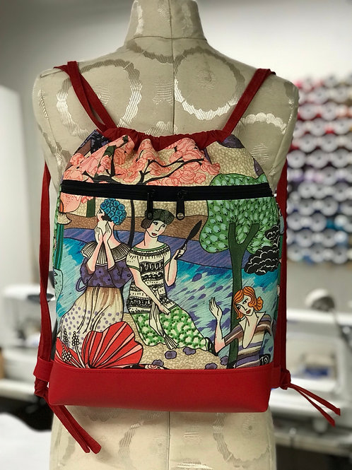 Pretty Ladies in a Garden Drawstring Backpack