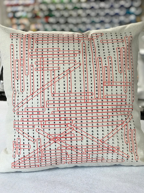 Shakespeare Word Search Pillow Cover
