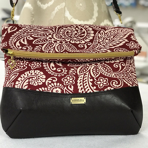 Cranberry and White Jacobean print cross body purse