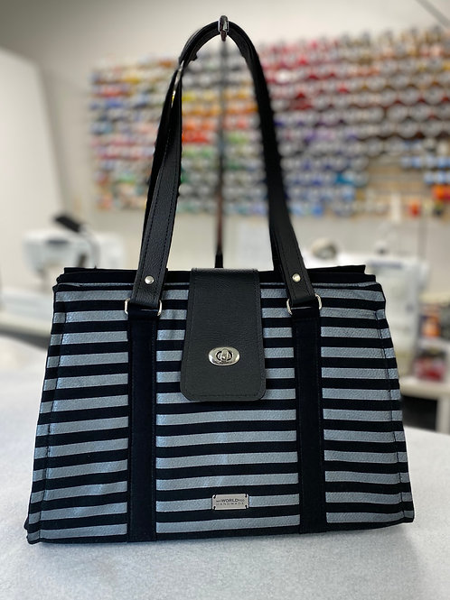 Silver and black striped Swoon Nora doctor bag