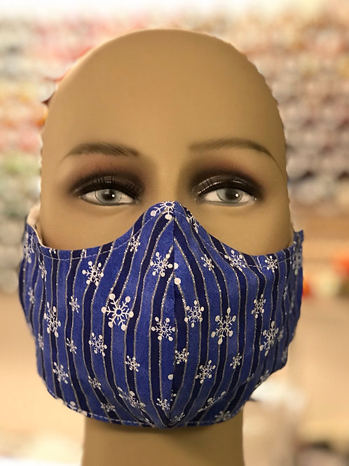 Blue and Silver striped snowflake face mask