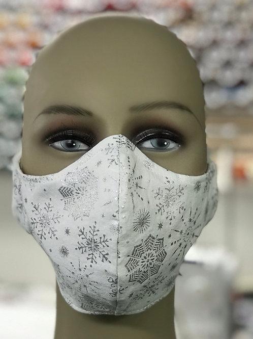 White with silver metallic snowflakes face mask