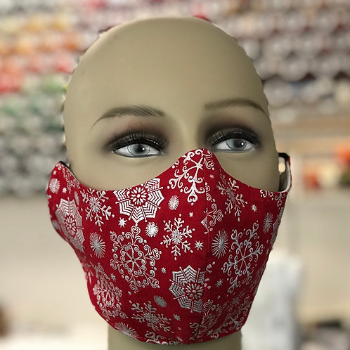 Silver snowflake red background face mask
