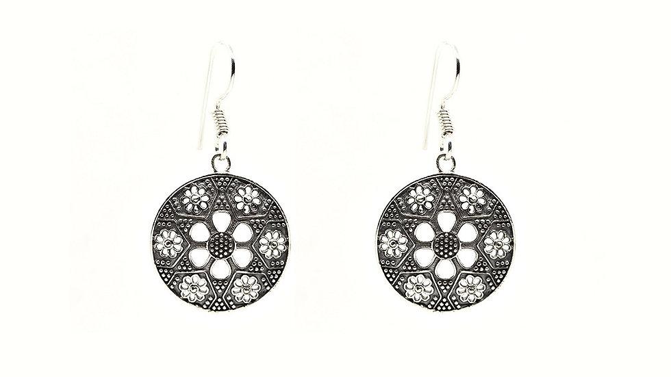 925 Silver Flora Filigree Round Shape Dangle Earrings