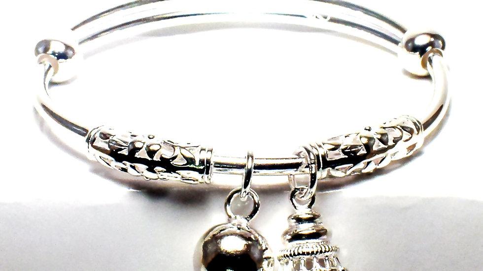 Hanging Jewel Women Silver Cuff Bracelet (Kada)