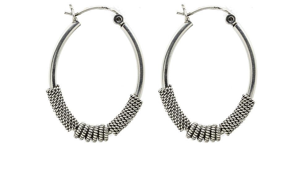 Oxidized Silver Wire Wrap Pure Oval Shape Earrings Handmade
