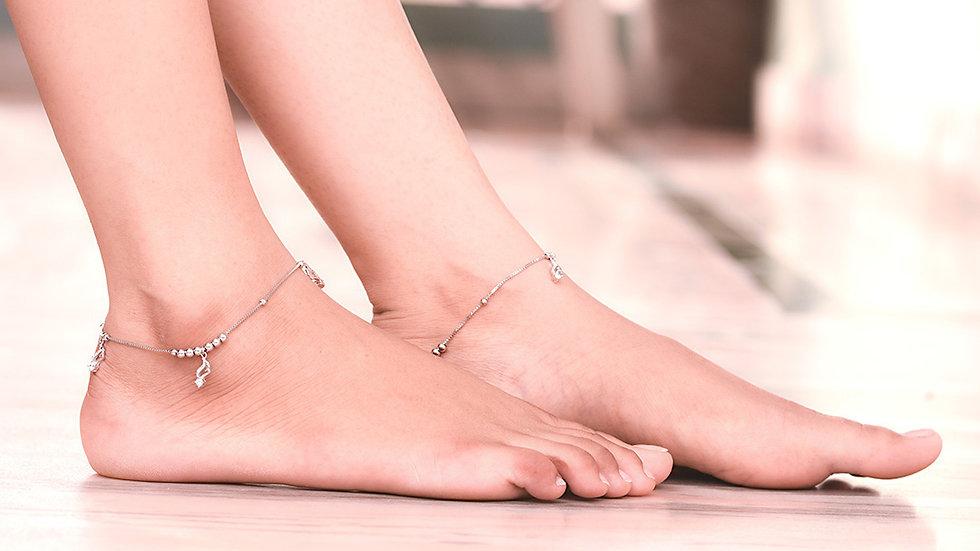 Charm Musical Design Silver Anklet 925 Sterling Silver