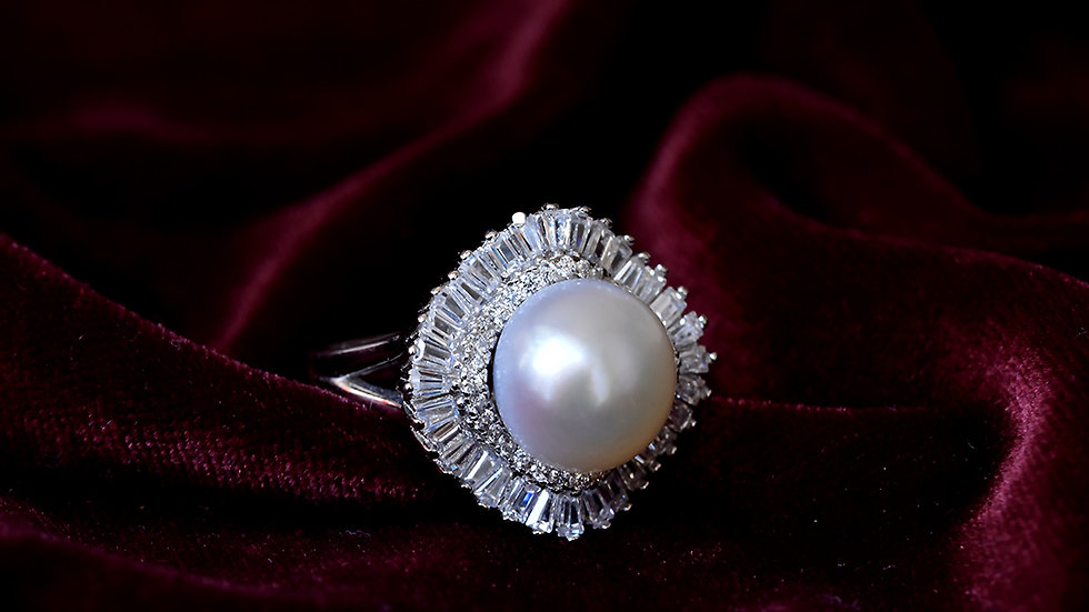 Royal Pearl Cocktail Ring With CZ Diamond