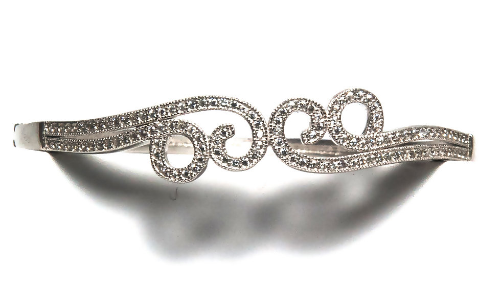 Floral American Diamond Studded Women's Silver Cuff Bracelet