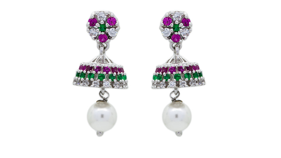 Red and Green Stone Latkan 925 Sterling Silver Jhumki