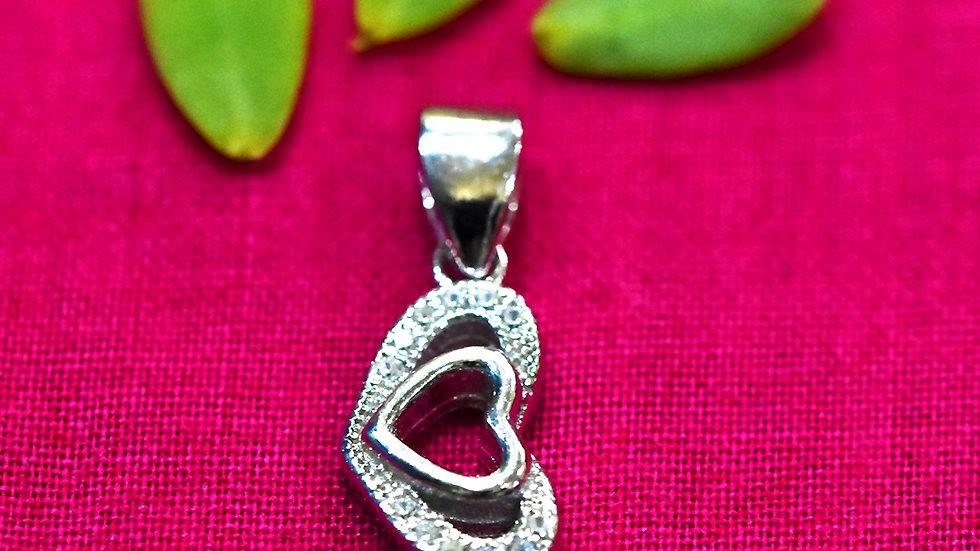 Couple Heart Love Pendant 925 Sterling Silver Pendant