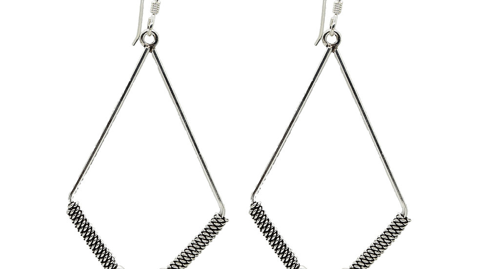 Oxidized Silver Wire Wrap Kite Shape Earrings Handmade