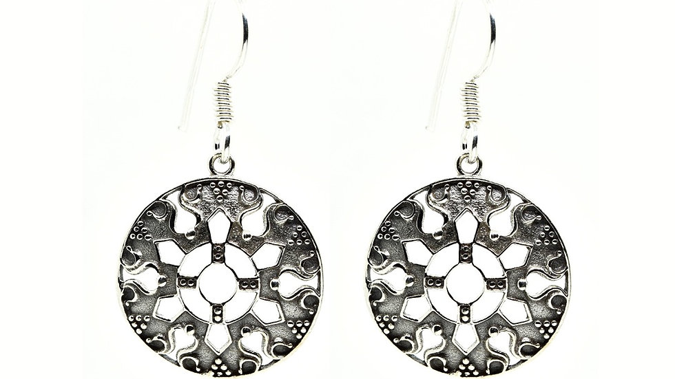 Armour Shield Oxidized Dangle 925 Sterling Silver Earring