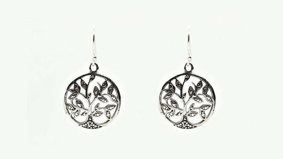 Tree of Life Drop Antique 925 Sterling Silver Earrings