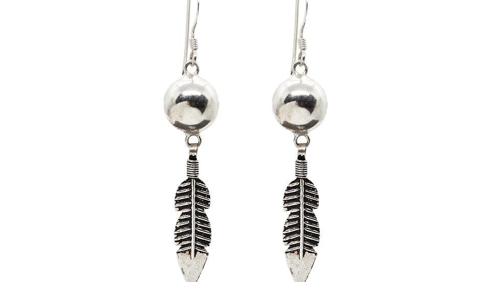 Tribal Leaf Antique Design 925 Sterling Silver Dangle Earring