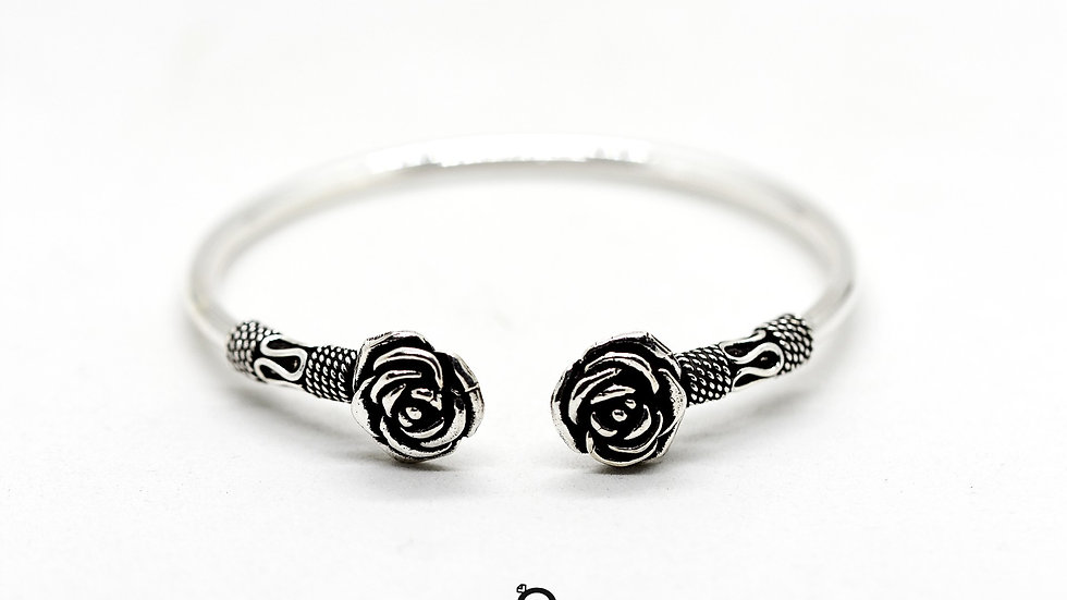Rose Design Plain 925 Silver Kada