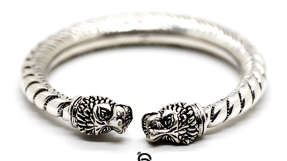 Lion Warrior Antique Silver Kada