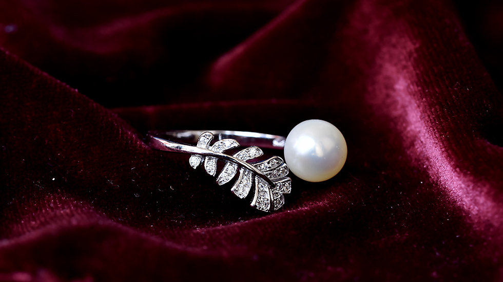 White Pearl Ring With Leaf Design