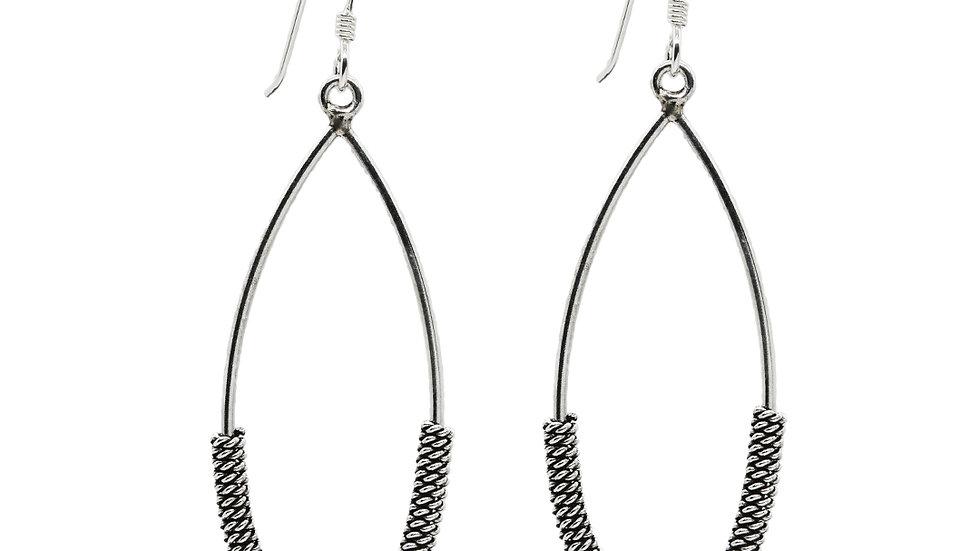 Oxidized Silver Wire Wrap Tear Drop Shape Earrings Handmade