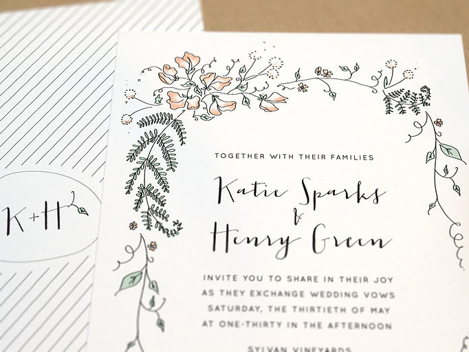 Woodsy custom wedding invitations with calligraphy and floral pen and ink illustration. Cleveland, Ohio graphic design| Studio AM Eugene OR wedding invitations