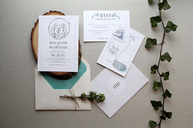 Custom Save the date design with a pen and ink illustration of a narwhal and unicorn crest  | Studio AM | studioamdesign.com